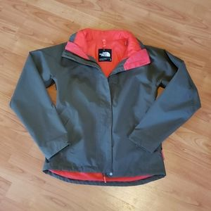 The North Face HyVent olive & neon pink jacket